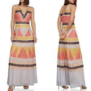 BcbgMaxAzria Colorblock Lace Maxi Dress 12 ::DD6